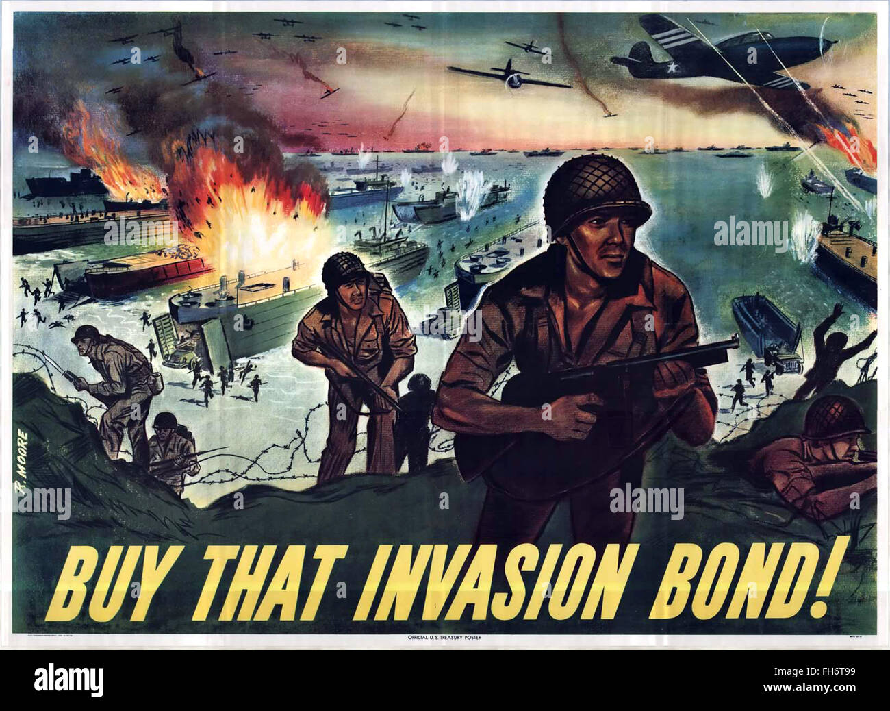 Normandy - Buy That Invasion Bond ! - US Propaganda Poster - WWII - Stock Image