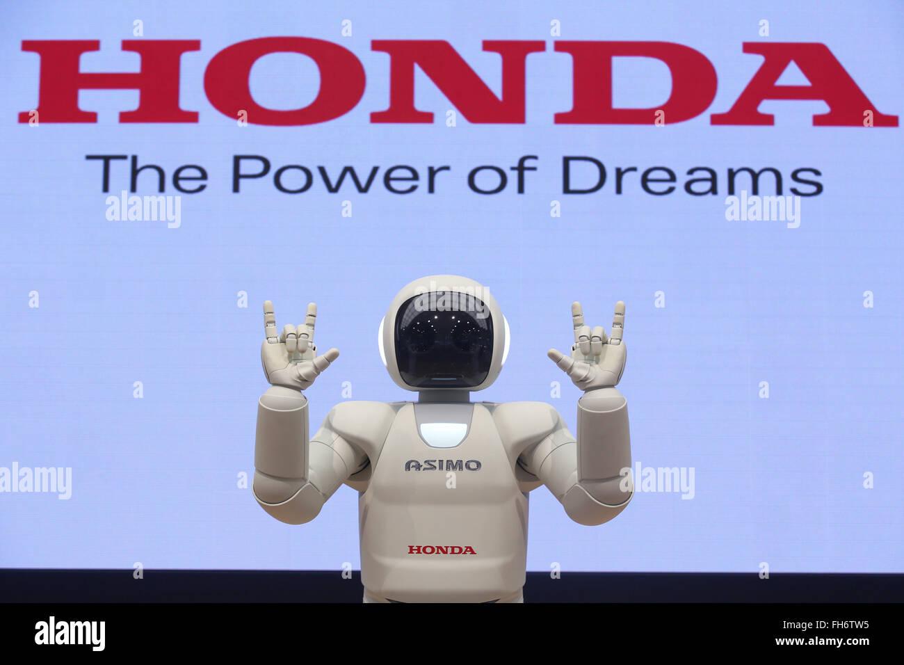 Honda Motor Cos Humanoid Robot ASIMO Demonstrates At The Companys Showroom In Tokyo Japan February 24 2016 Credit Aflo Co Ltd Alamy Live News