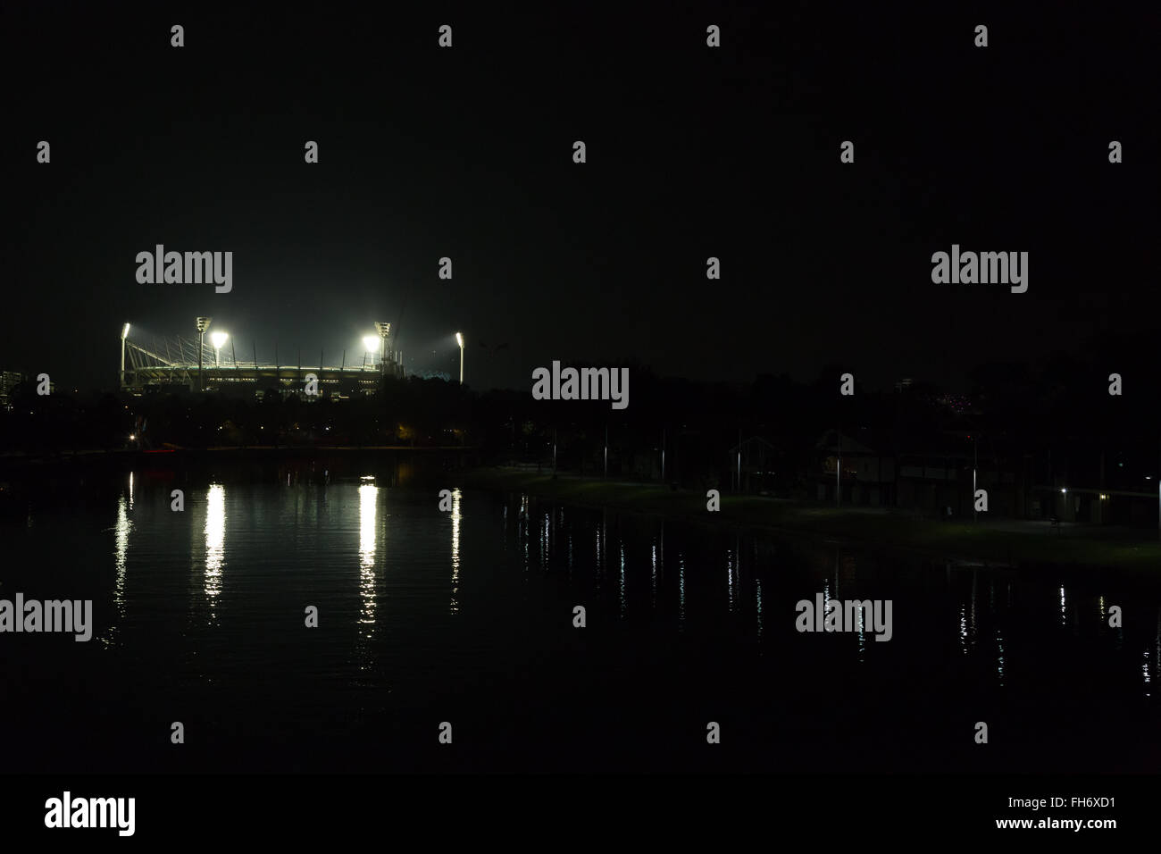 Melbourne, Australia - April 24, 2015: Melbourne Cricket Ground by night illuminated for a match. - Stock Image