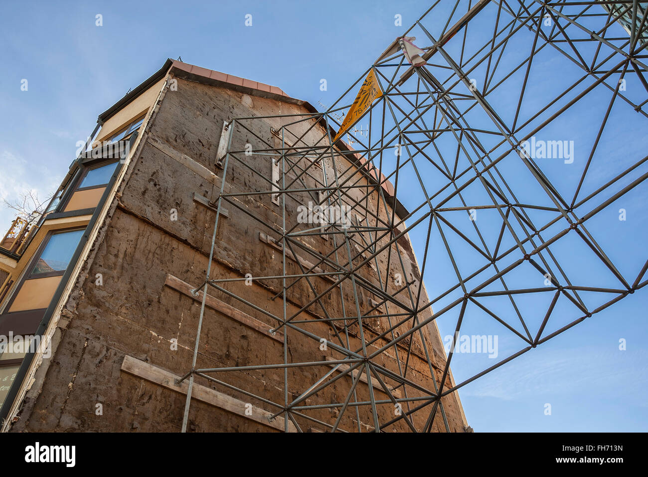 Framework supporting a house wall, Munich, Bavaria, Germany - Stock Image