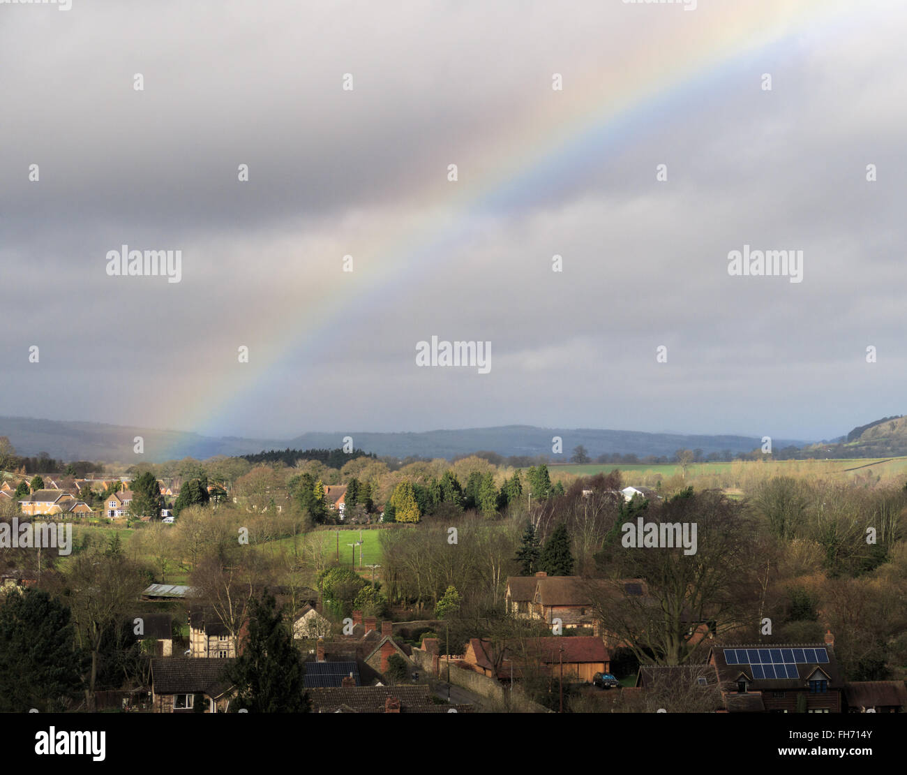 Rainbow formed over the town of Ludlow. In Ludlow, England. On 21st February 2016. - Stock Image