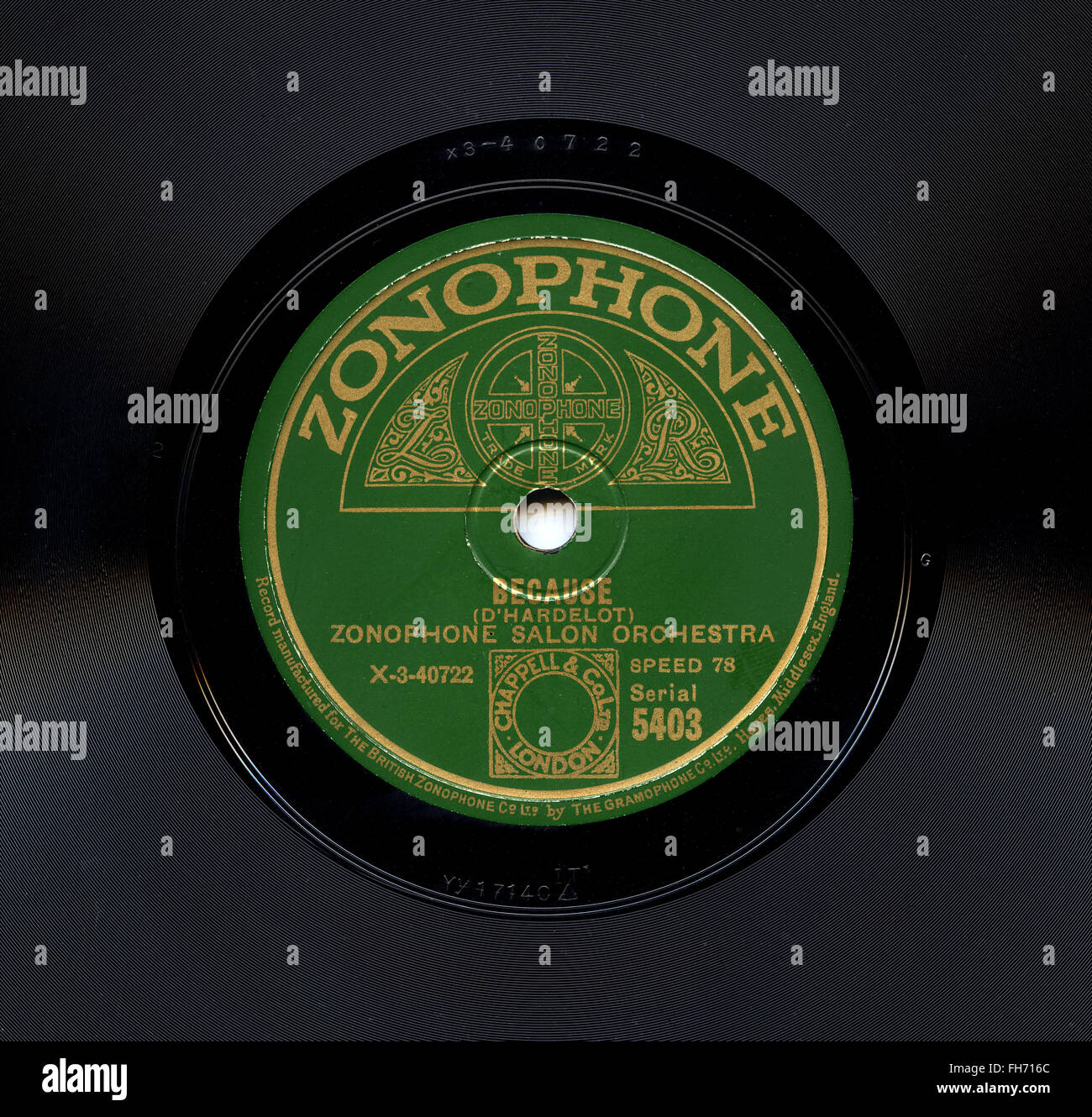 """Zonophone Salon Orchestra 78 rpm Zonophone record label """"Because"""" recorded Oct. 1929 - Stock Image"""