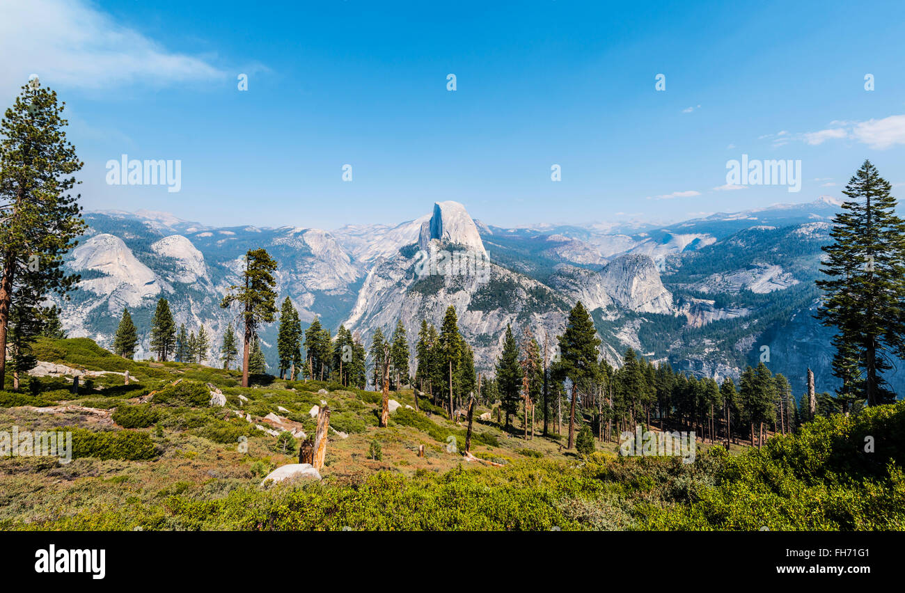 View into Yosemite Valley, Half Dome, Yosemite National Park, California, USA - Stock Image
