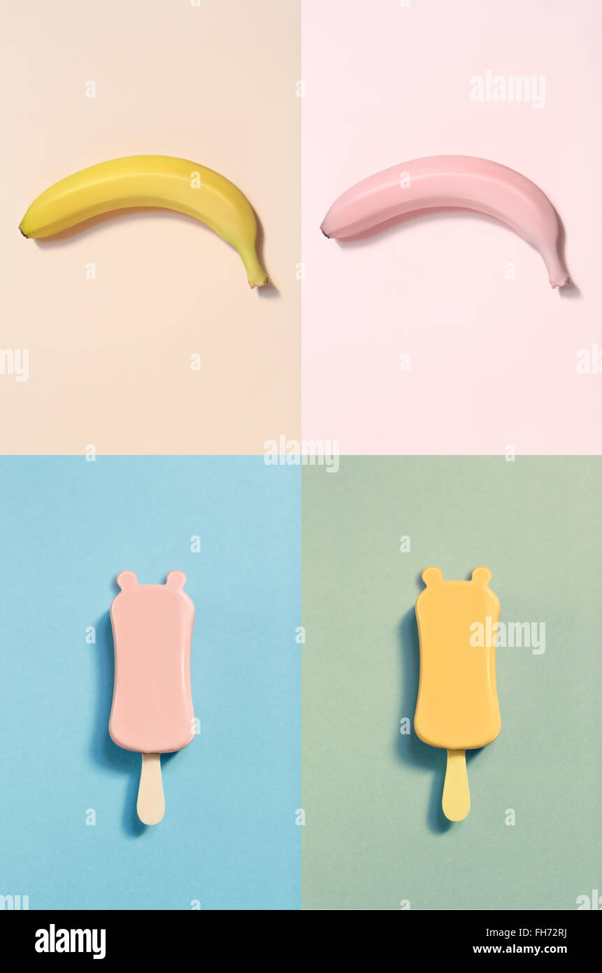 Set of choc-ice with small ears and bananas Stock Photo