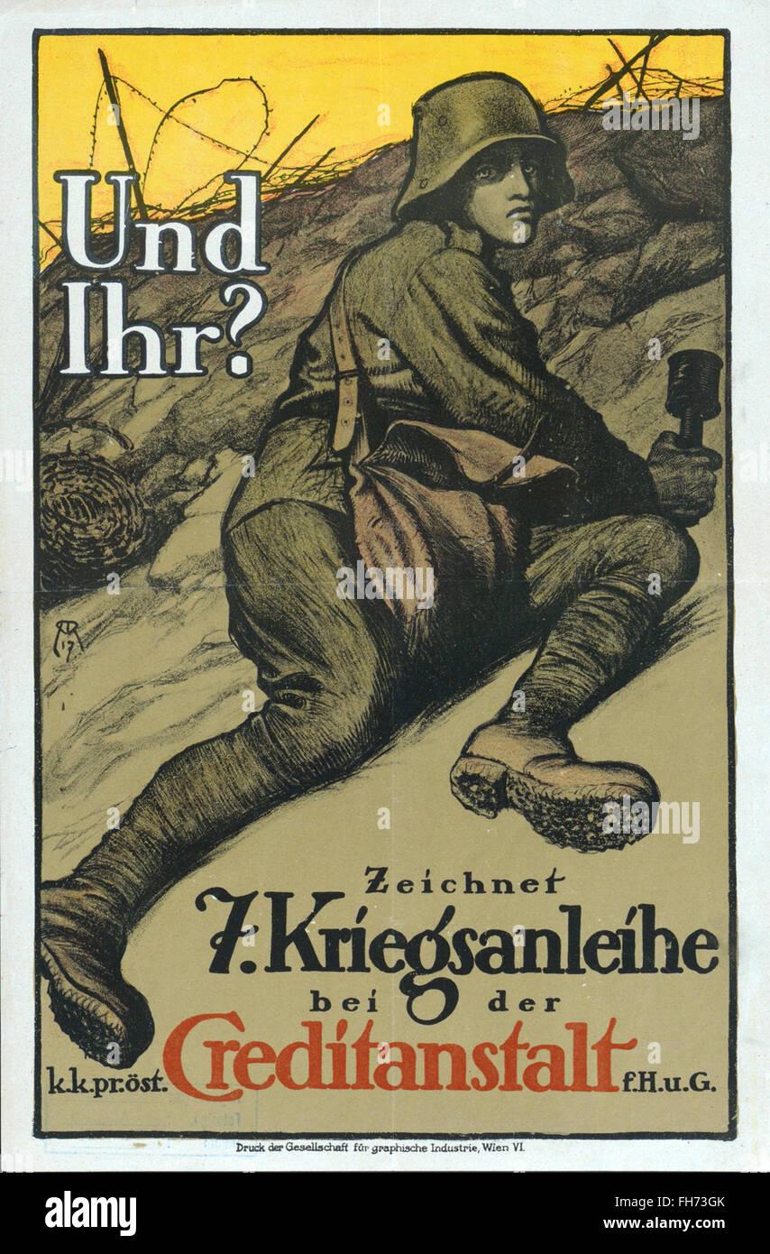 War Bonds - German  Propaganda Poster - WWI - Stock Image