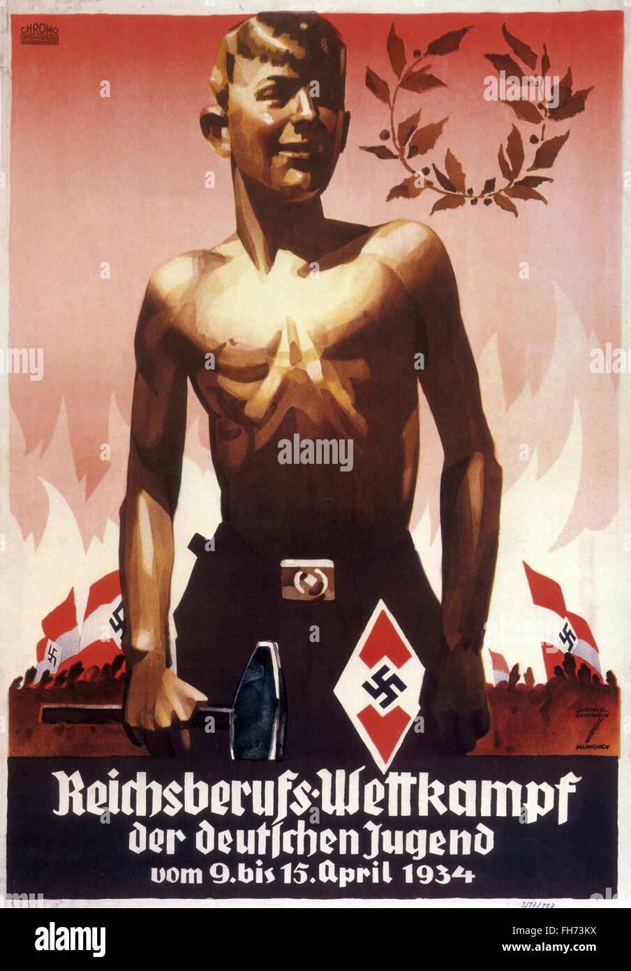 - German Nazi Propaganda Poster - 1934 - Stock Image