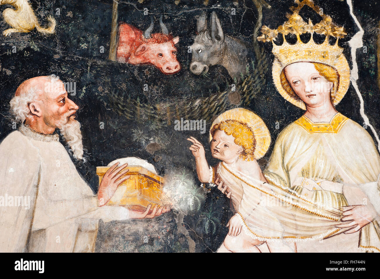Gothic fresco, Adoration of the Magi, 13. Cloister, Cathedral, Brixen, South Tyrol, Italy - Stock Image