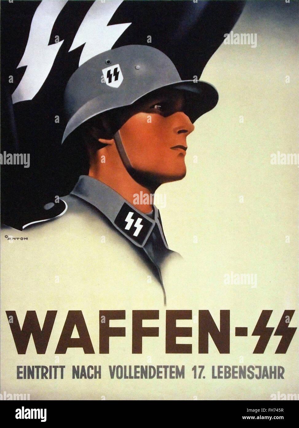Waffen SS - German Nazi Propaganda Poster - WWII - Stock Image