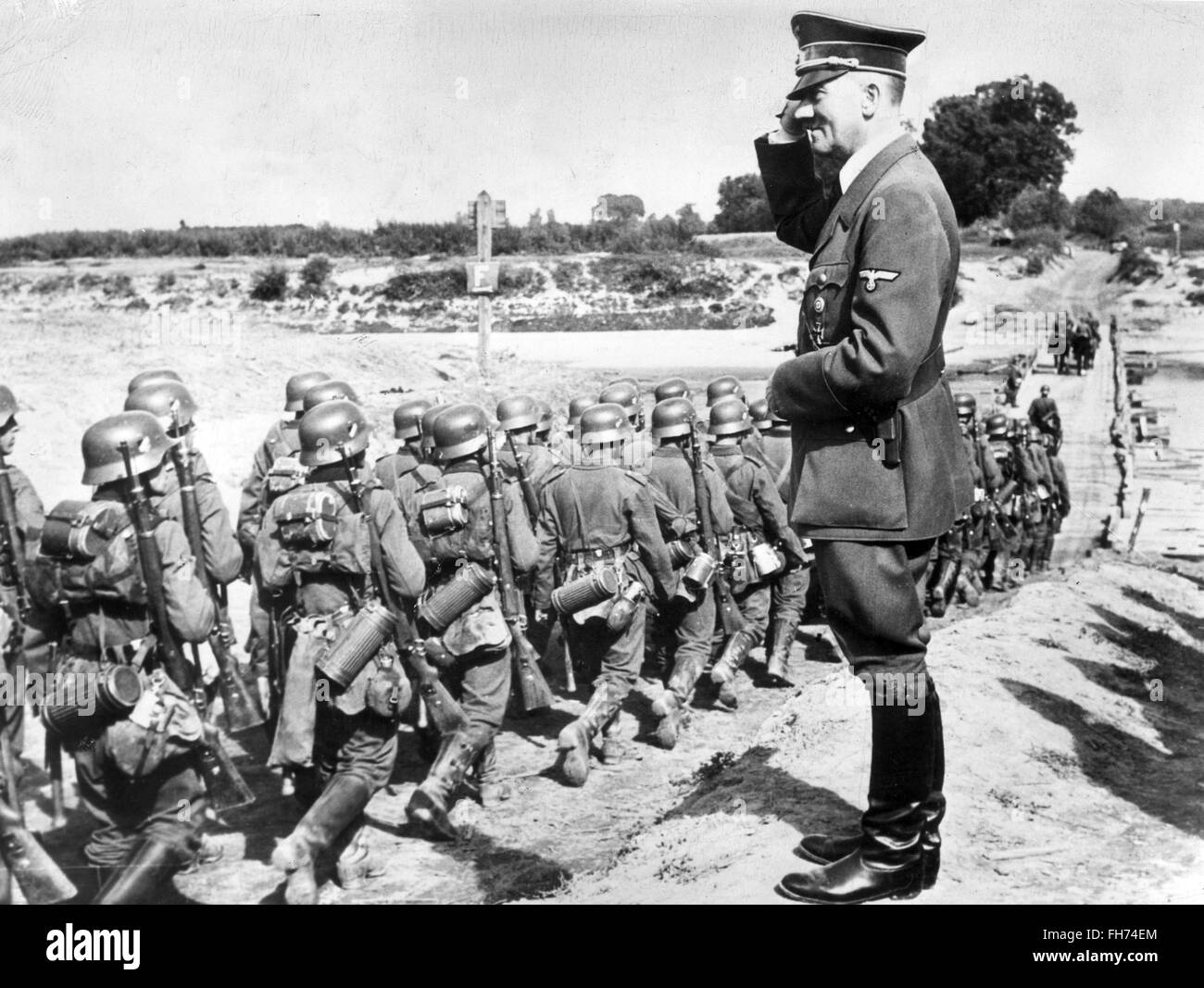Adolf Hitler Reviewing troops - German Nazi Propaganda - WWII - Stock Image