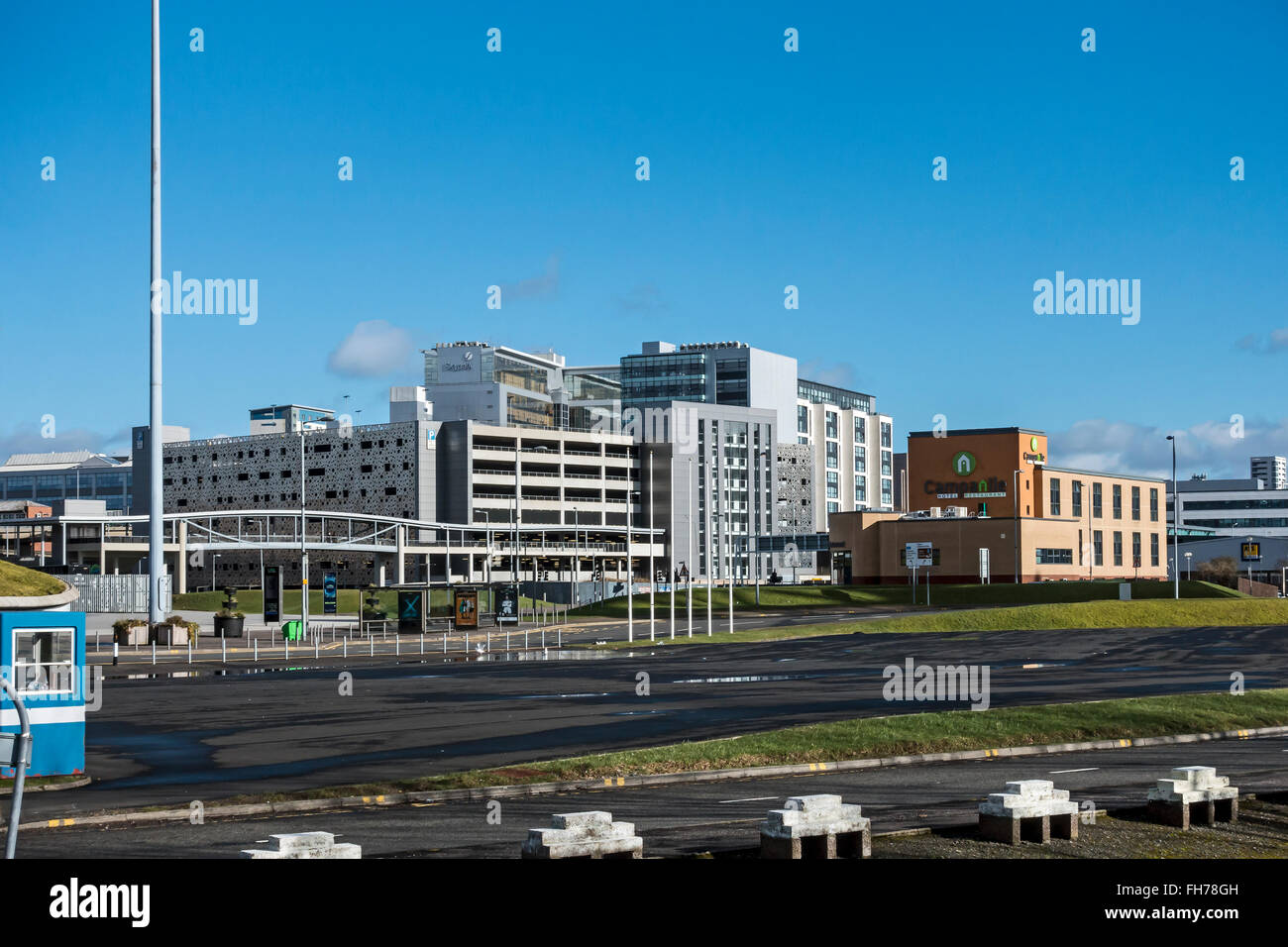 SECC car park with Skypark behind, 133 Finnieston Street and Campanile Hotel and Restaurant in Finnieston Glasgow - Stock Image