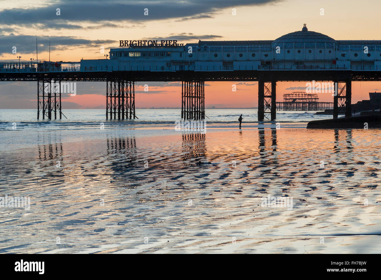 Evening on Brighton beach at low tide, East Sussex, England. Stock Photo