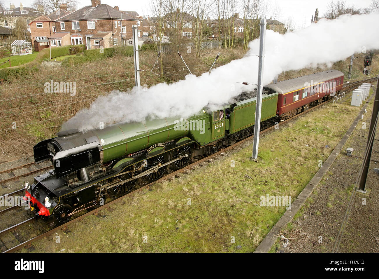 """York, UK, 24 February 2016. Newly restored LNER A3 class locomotive """"Flying Scotsman"""" leaves York on its way to Stock Photo"""