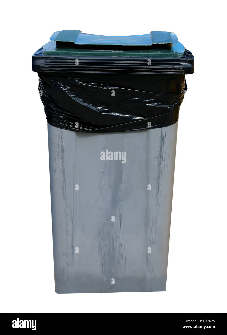 Gray recycling bin isolated on a white background. - Stock Image