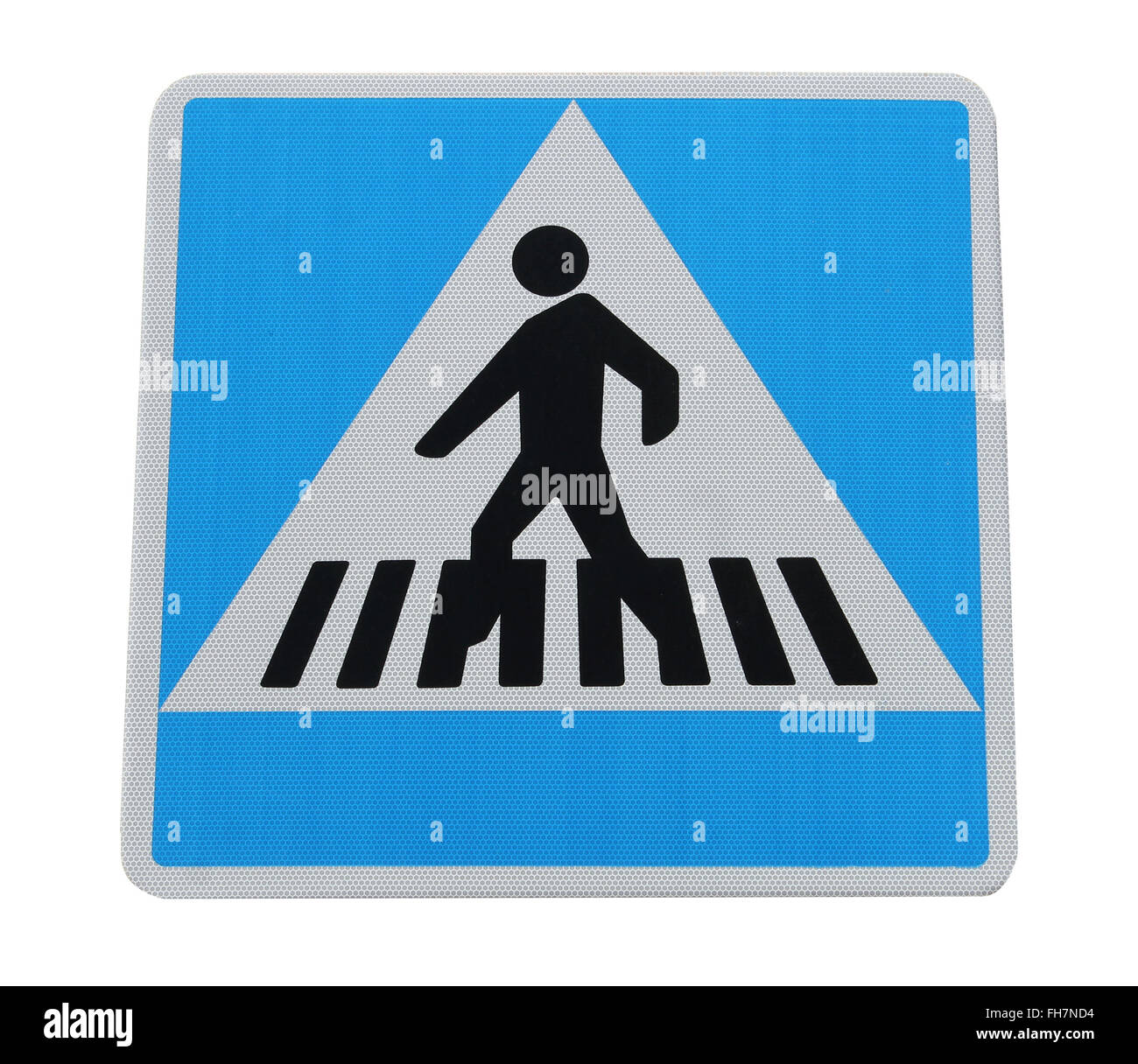 Pedestrian crossing sign isolated on a white background. - Stock Image