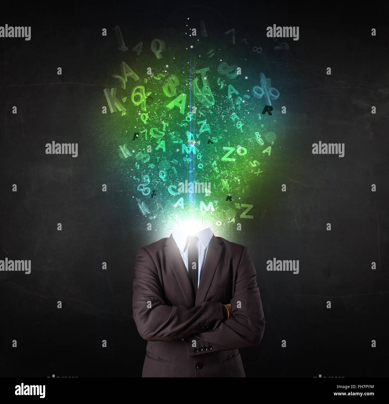 Business man with abstract glowing letters on head - Stock Image