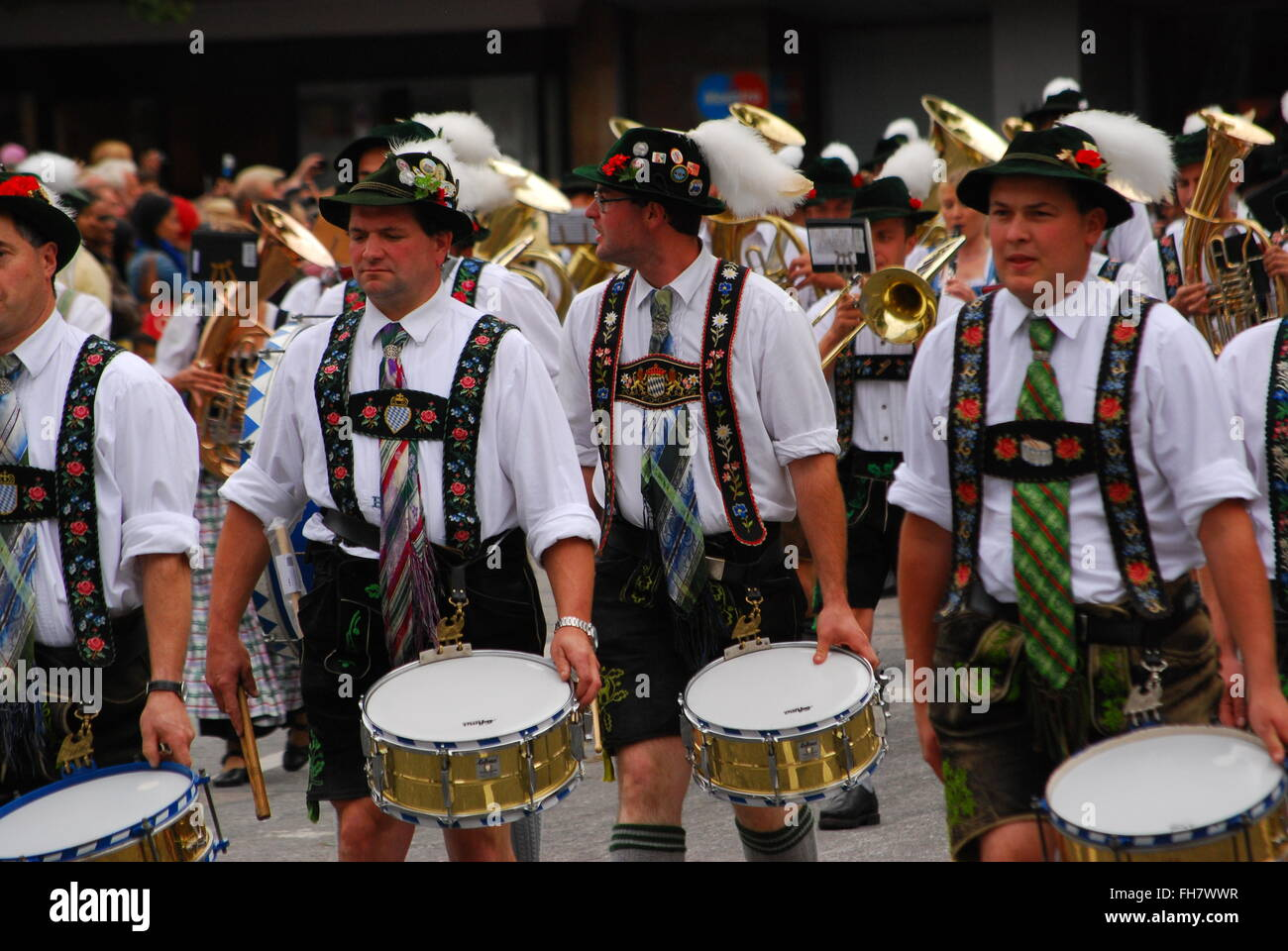 Drummers of bavarian marching band - Stock Image