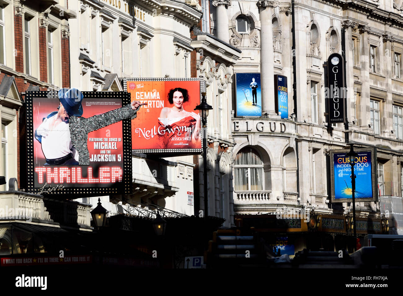 London, England, UK. Theatres on Shaftesbury Avenue - Thriller (Lyric Theatre); Nell Gwynn (Apollo) Curious Incident... - Stock Image