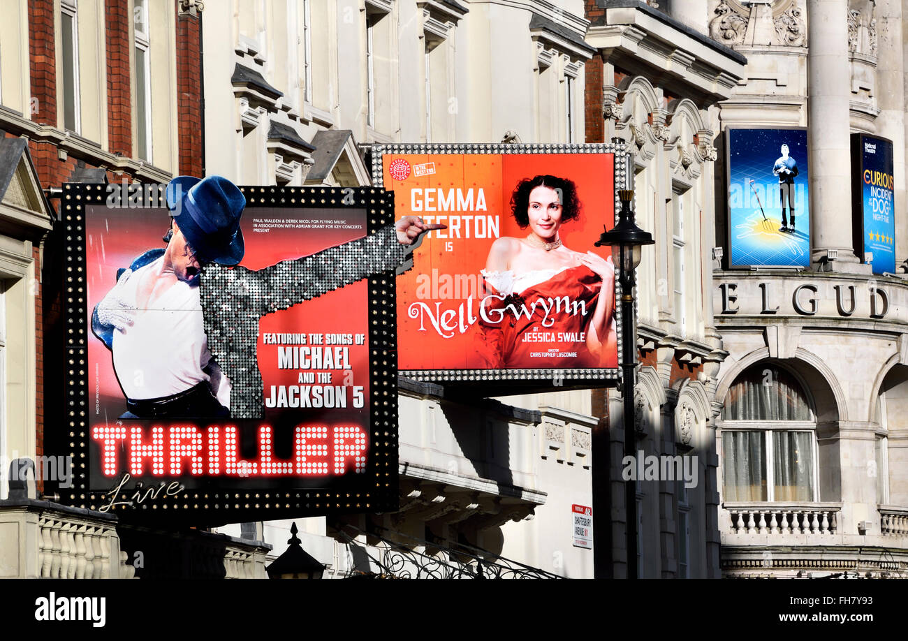 London, England, UK. Theatres on Shaftesbury Avenue - Thriller (Lyric Theatre); Nell Gwynn (Apollo) Curious Incident.... - Stock Image