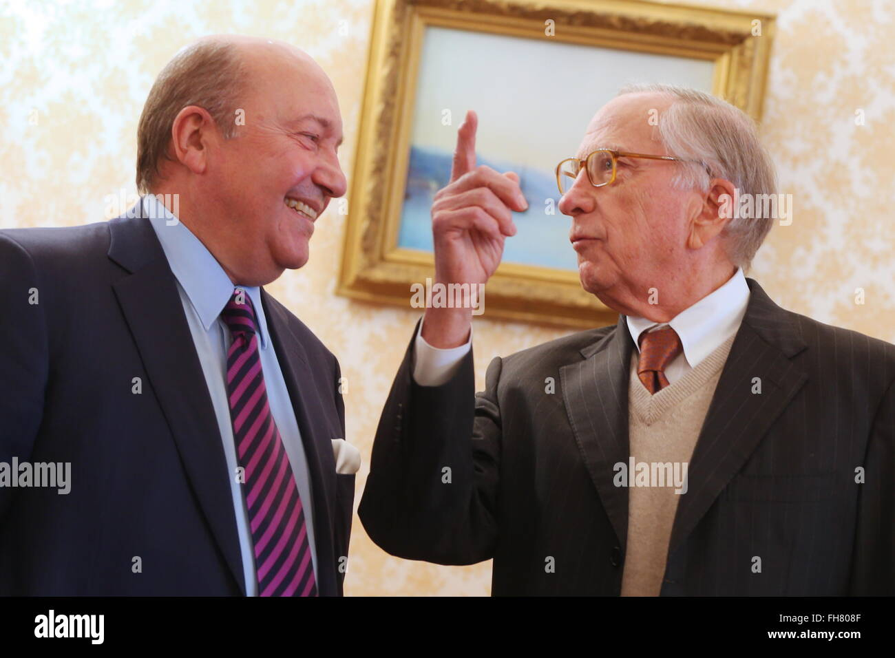 MOSCOW, RUSSIA. FEBRUARY 24, 2016. Russia's deputy minister of foreign affairs Grigory Karasin (L) and former - Stock Image
