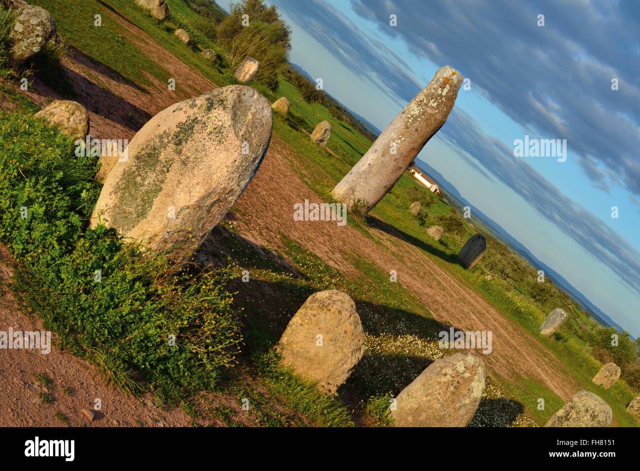 Portugal, Alentejo: Prehistoric stone circle Cromelech of  Xerez - Stock Image