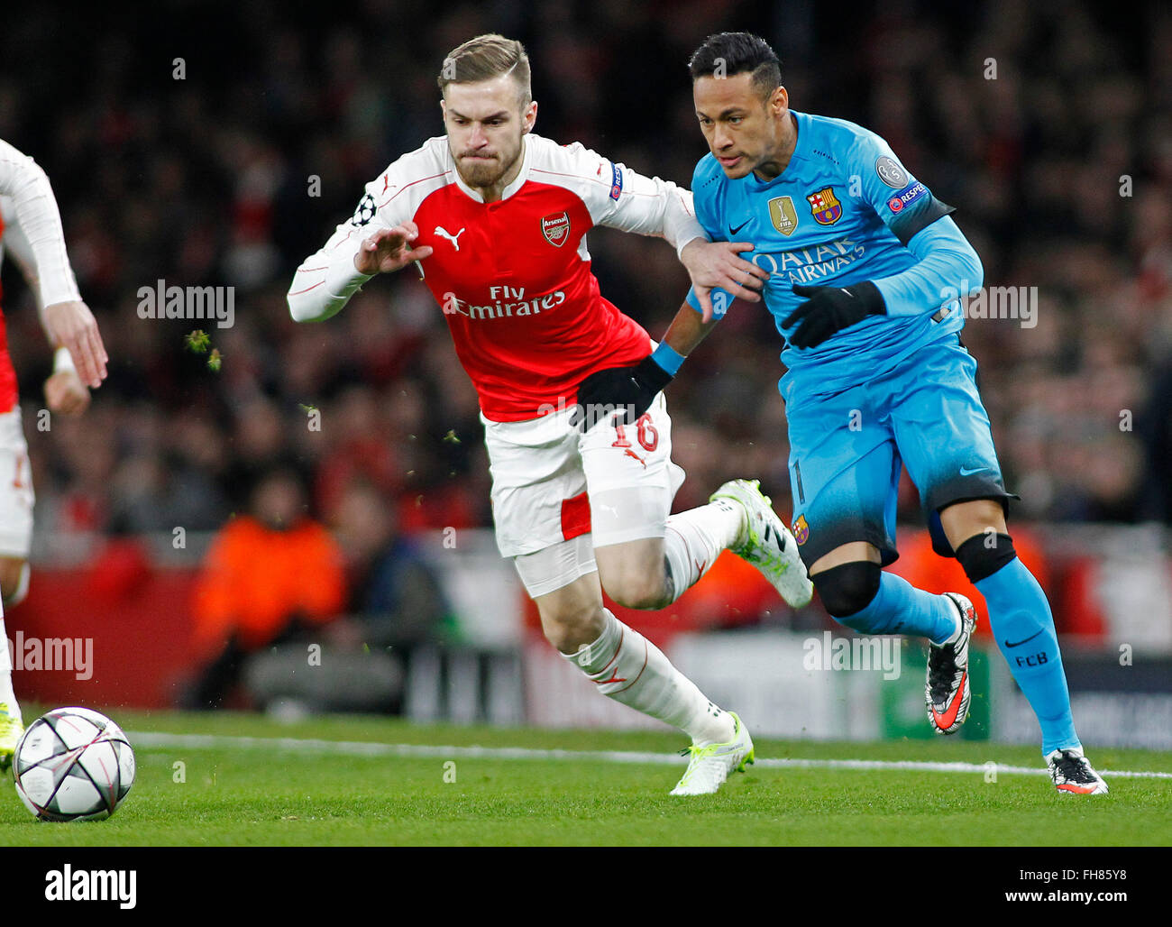 a49dd1745f4 Aaron Ramsey of Arsenal and Neymar of Barcelona during the Champions League  match between Arsenal and Barcelona at The Emirates Stadium on February 23,  ...
