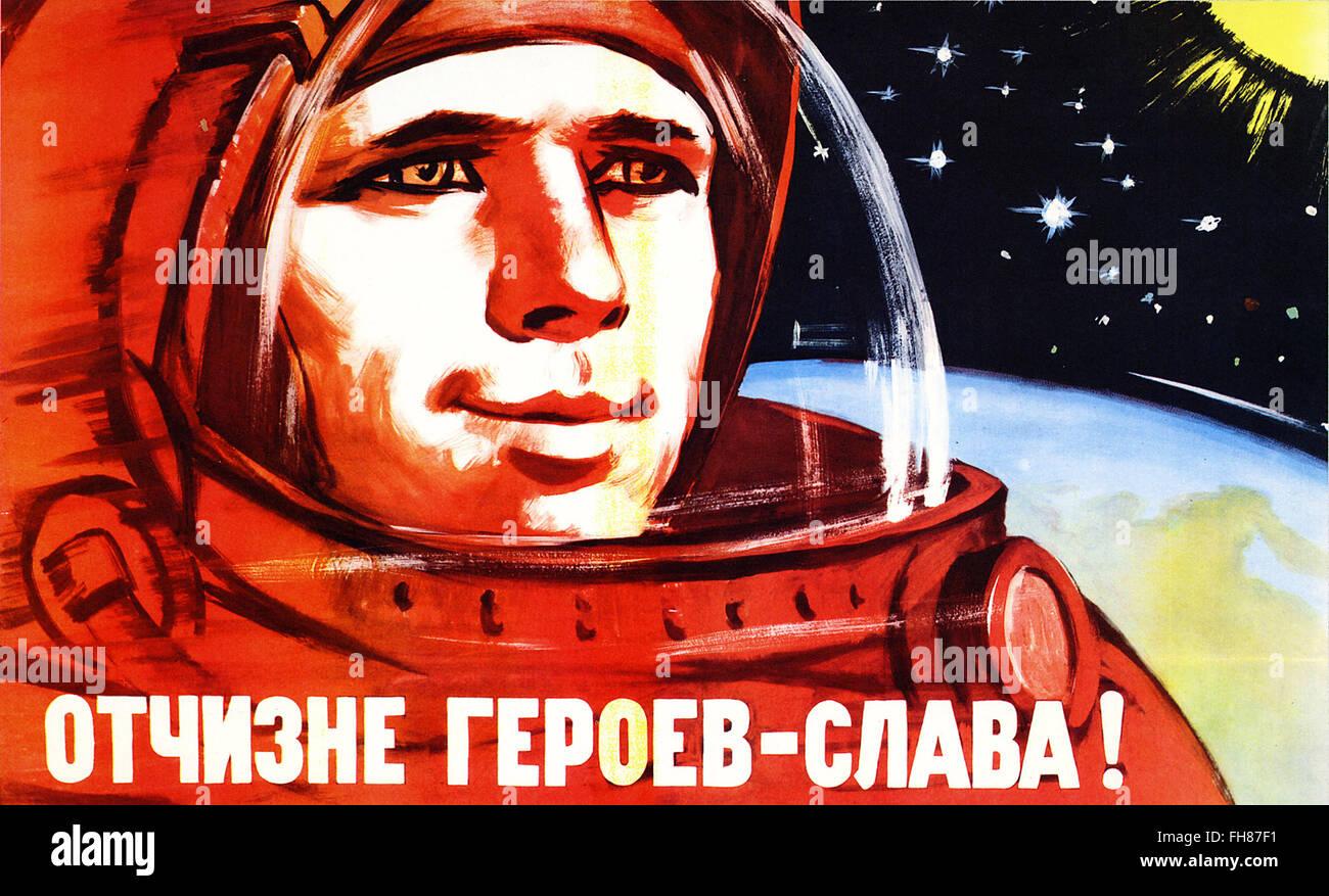soviet space program propaganda poster - Stock Image