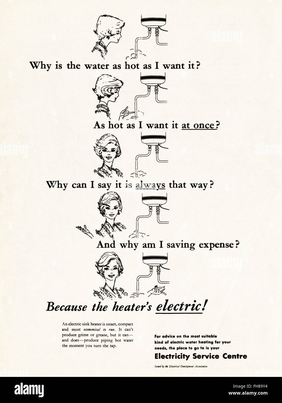 Original vintage advert from 1950s. Advertisement dated 1956 advertising Electricity. 50s retro - Stock Image