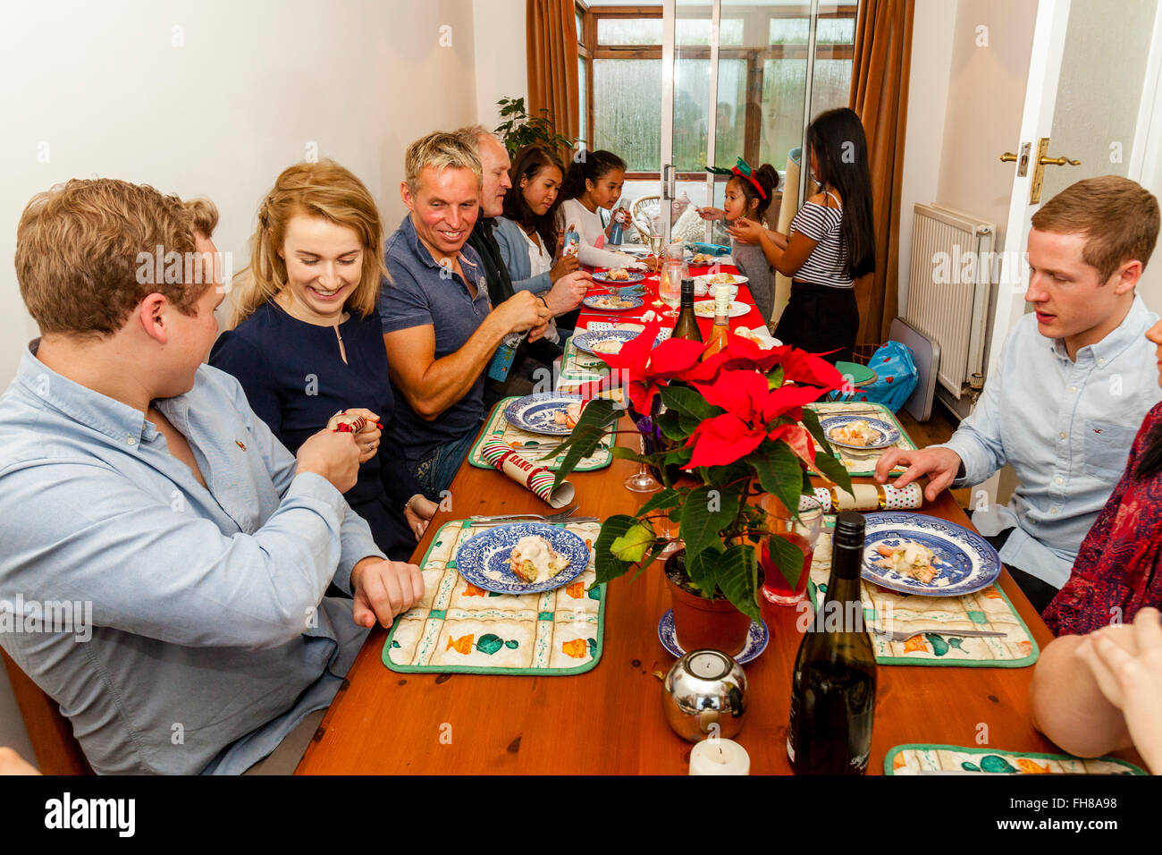 A Traditional Family Christmas Dinner, Brighton, Sussex, UK - Stock Image