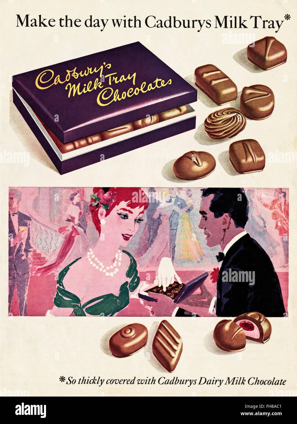 Original vintage advert from 1950s. Advertisement dated 1956 advertising Cadburys Milk Tray Chocolates. - Stock Image