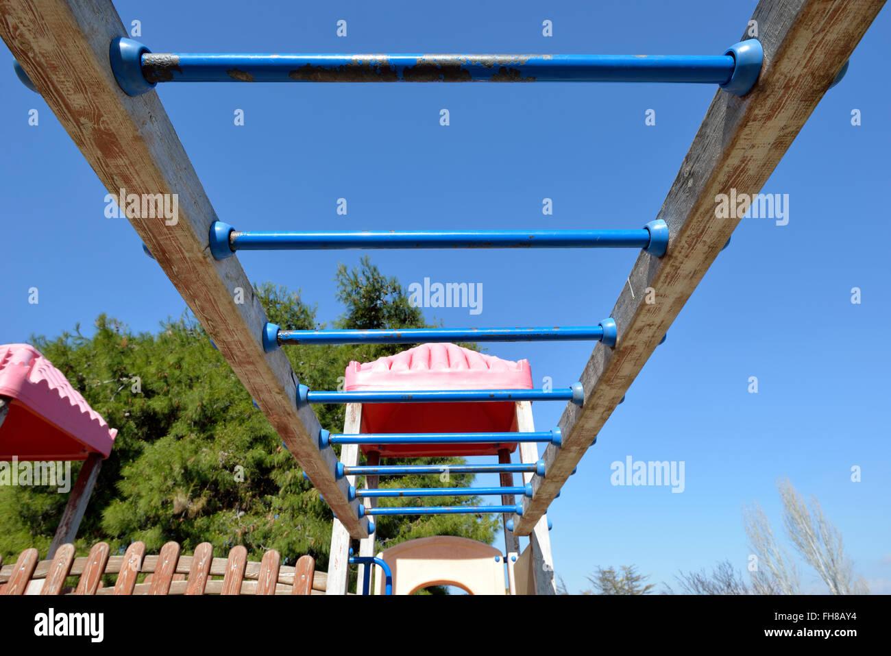 Monkey bars at children playground - Stock Image