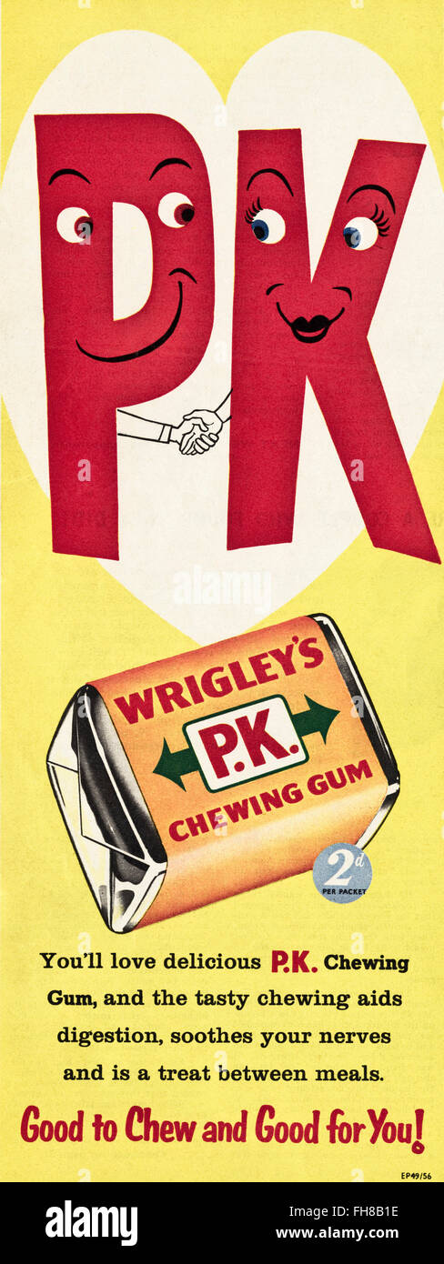 Original vintage advert from 1950s. Advertisement dated 1956 advertising Wrigley's PK chewing gum. - Stock Image