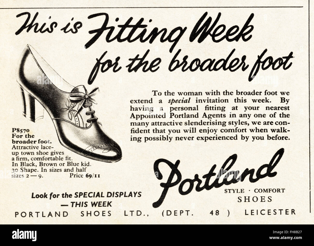Original vintage advert from 1950s. Advertisement dated 1956 advertising Portland Shoes of Leicester, England, UK. - Stock Image