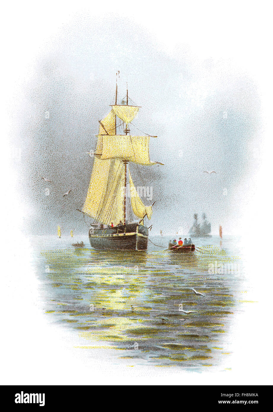 Illustration of a seascape with sailing ships and small boats. - Stock Image