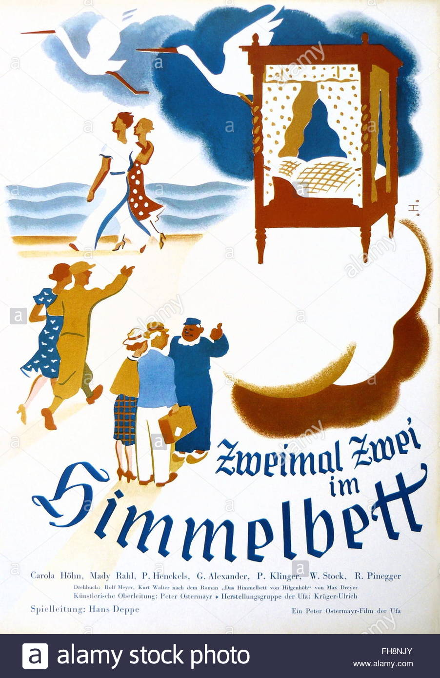 movie poster, 'Twice Two in a Four Post Bed' (Zweimal Zwei im Himmelbett), DEU 1937, director: Hans Deppe, - Stock Image