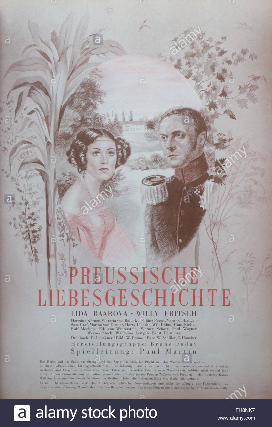 movie poster, 'A Prussian Love Story', DEU 1938, director: Paul Martin, movie with: Lida Baarova, Willy - Stock Image