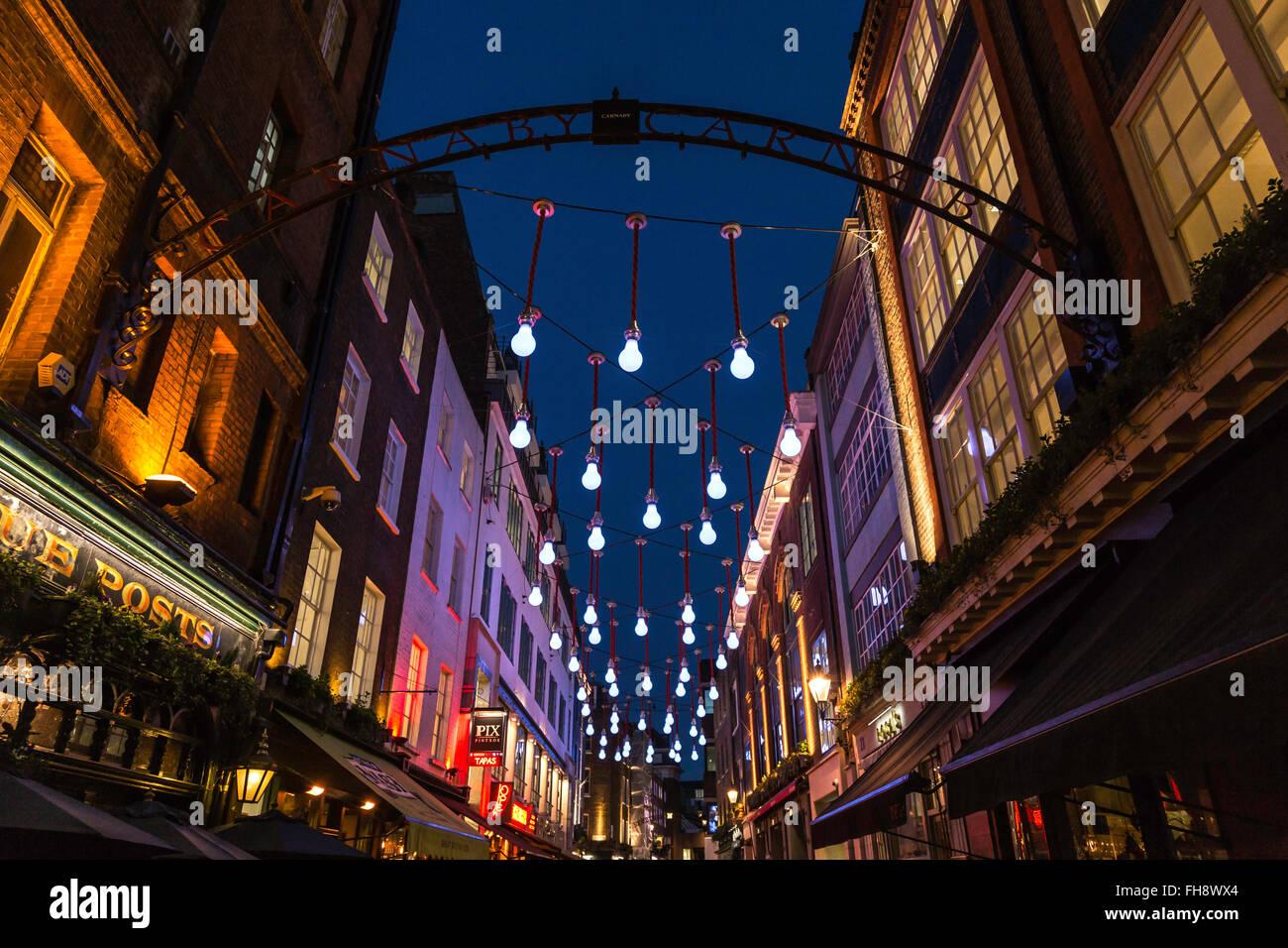 Bright Overhead Illumination in Ganton Street Stock Photo
