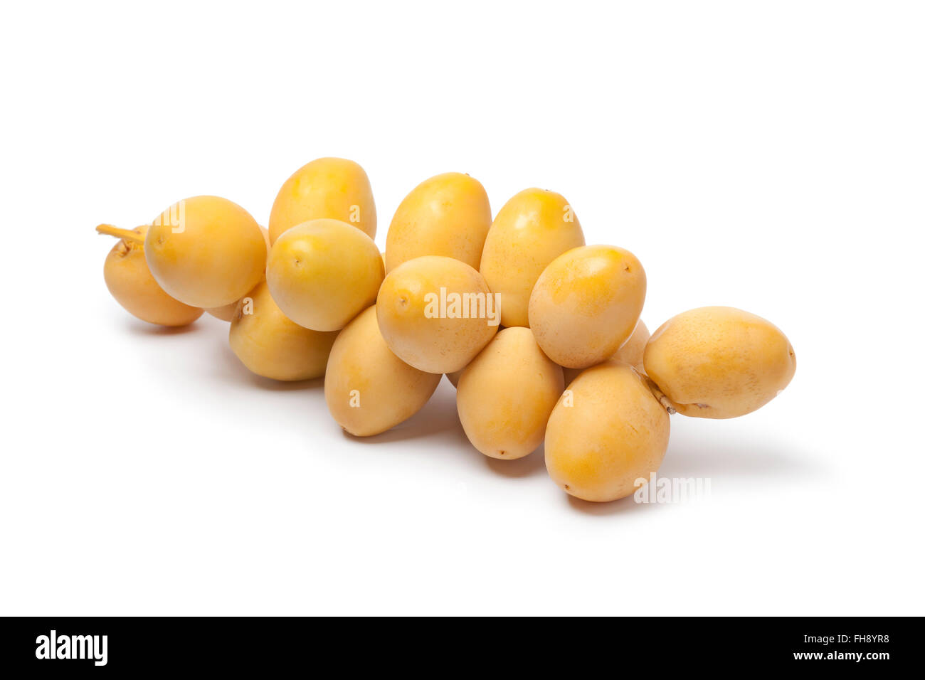 Fresh ripe dates on a sprig on white background - Stock Image