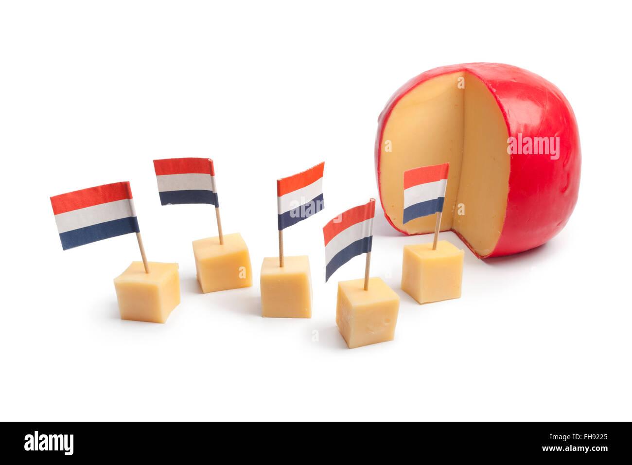 Dutch Edam cheese blocks with the Dutch flag on white background - Stock Image