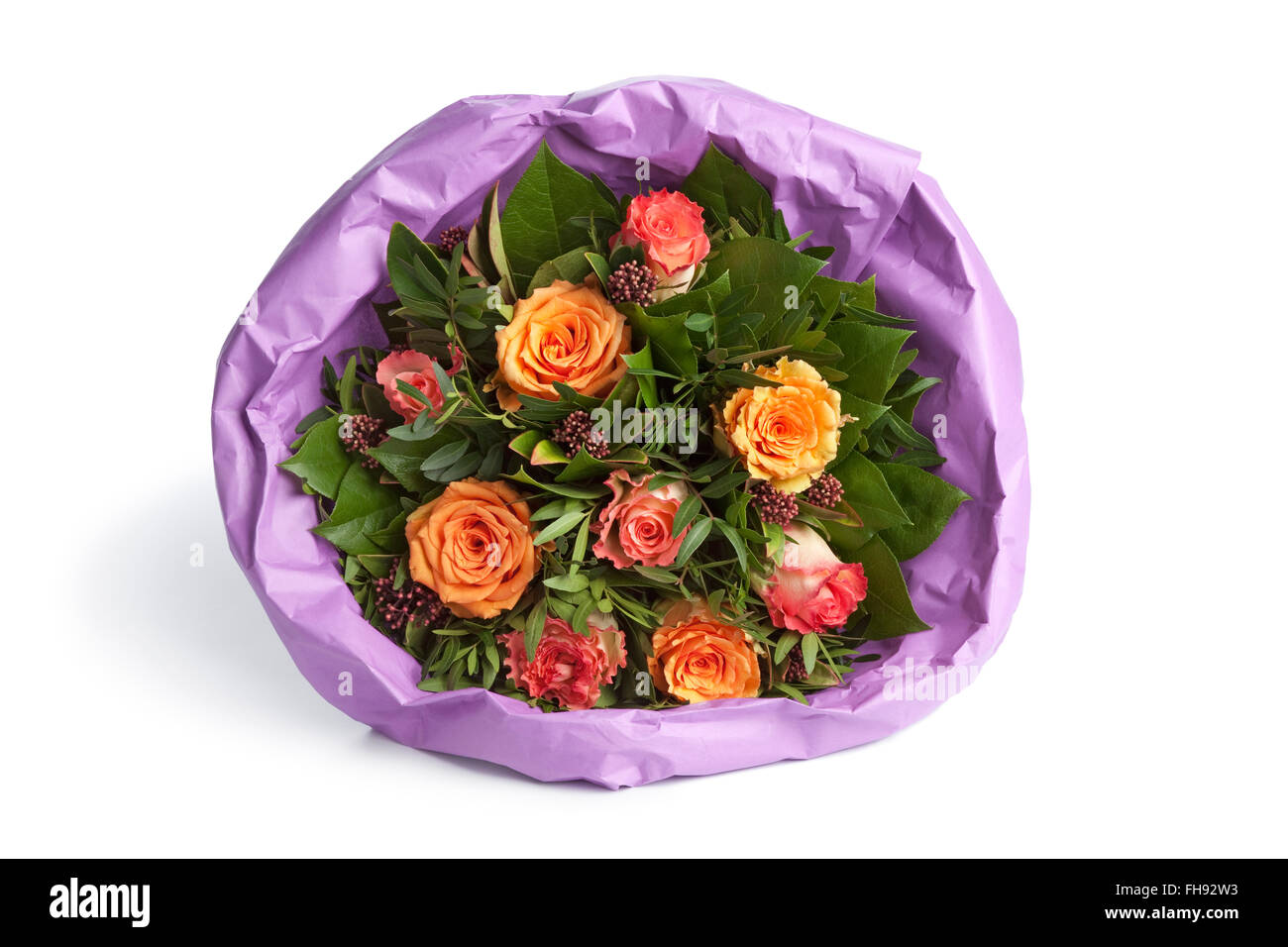 Bouquet flowers wrapped on paper stock photos bouquet flowers bouquet of fresh roses wrapped in paper on white background stock image mightylinksfo