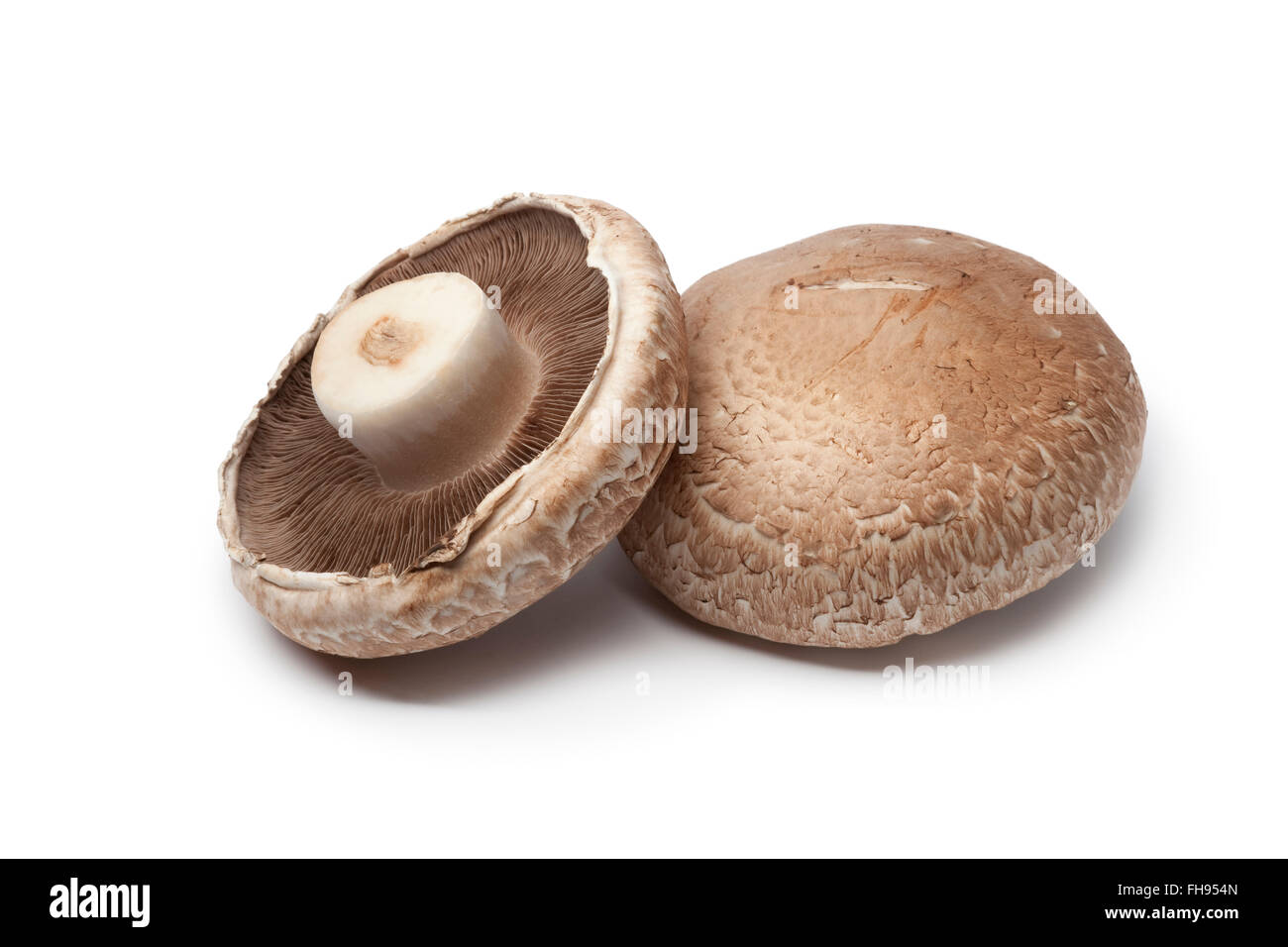 Fresh Raw Portobello Mushrooms Isolated On White Background Stock Photo Alamy