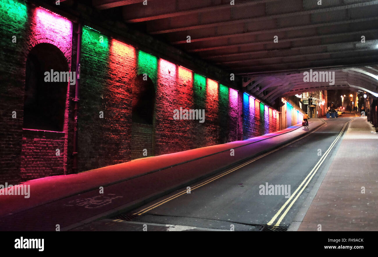 The colourful lighting at the top of Trafalgar Street underneath Brighton Station leading into the North Laine area Stock Photo