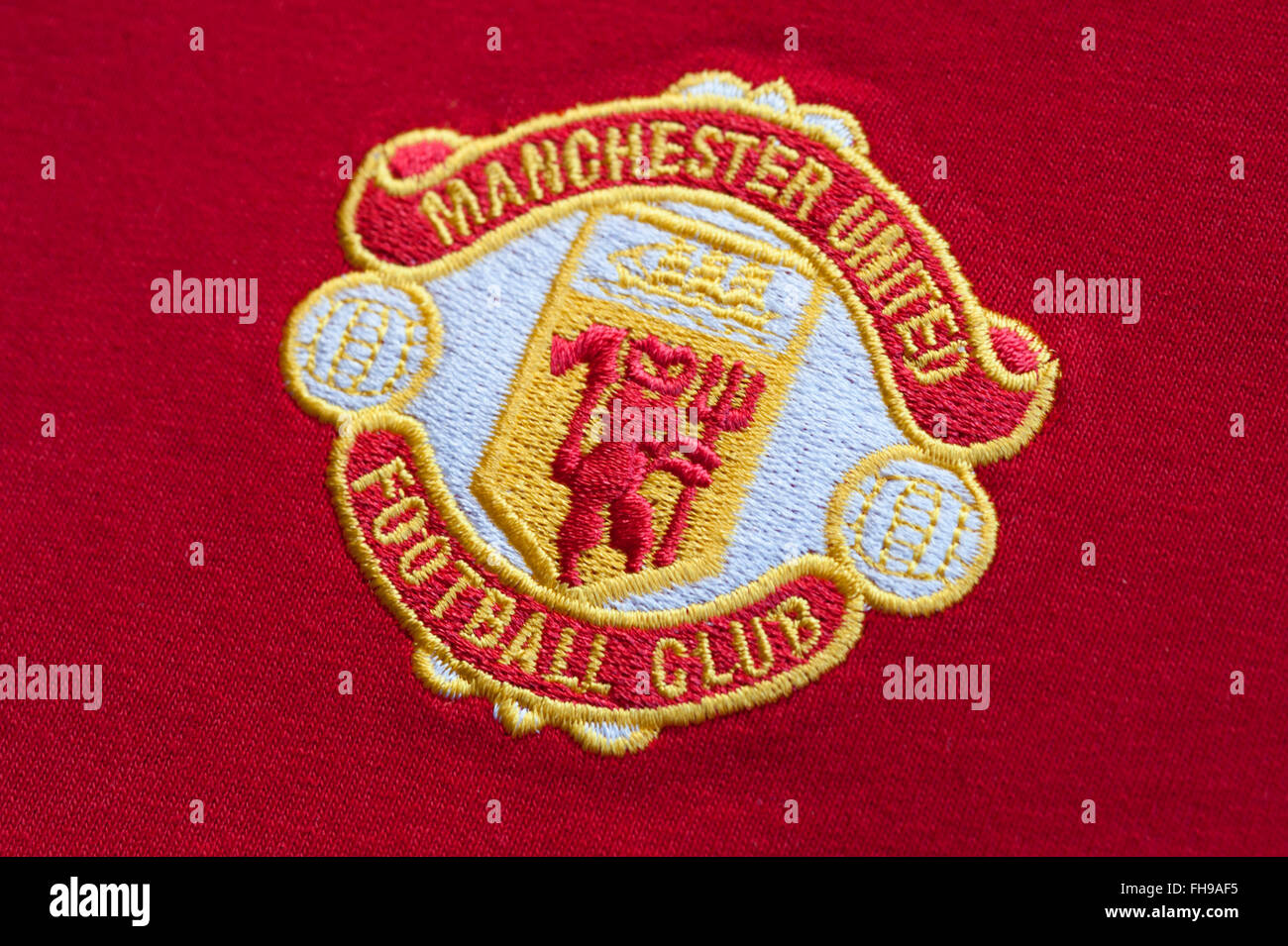 Close up of traditional Manchester United Football Club Badge - Stock Image