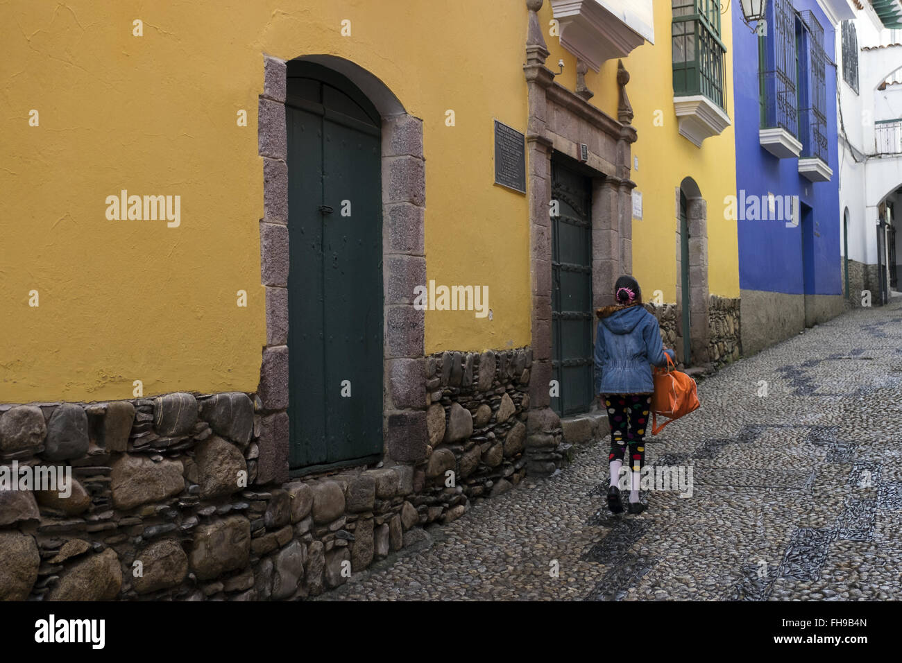 Jaen Street, one of the most beautiful and touristy streets of La Paz - Stock Image