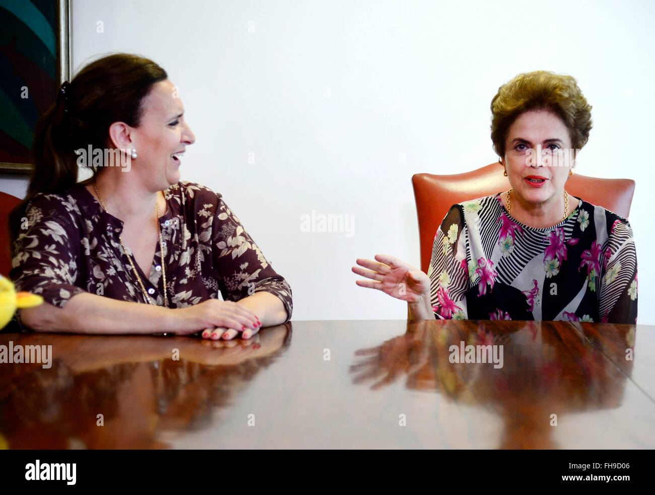 Brazil President Dilma Rousseff meets with Argentinian Vice President Gabriela Michetti February 23, 2016 in Brasi'lia, - Stock Image
