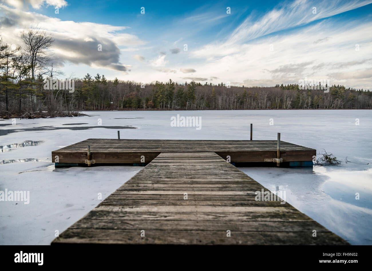 View of floating pier on a iced lake - Stock Image