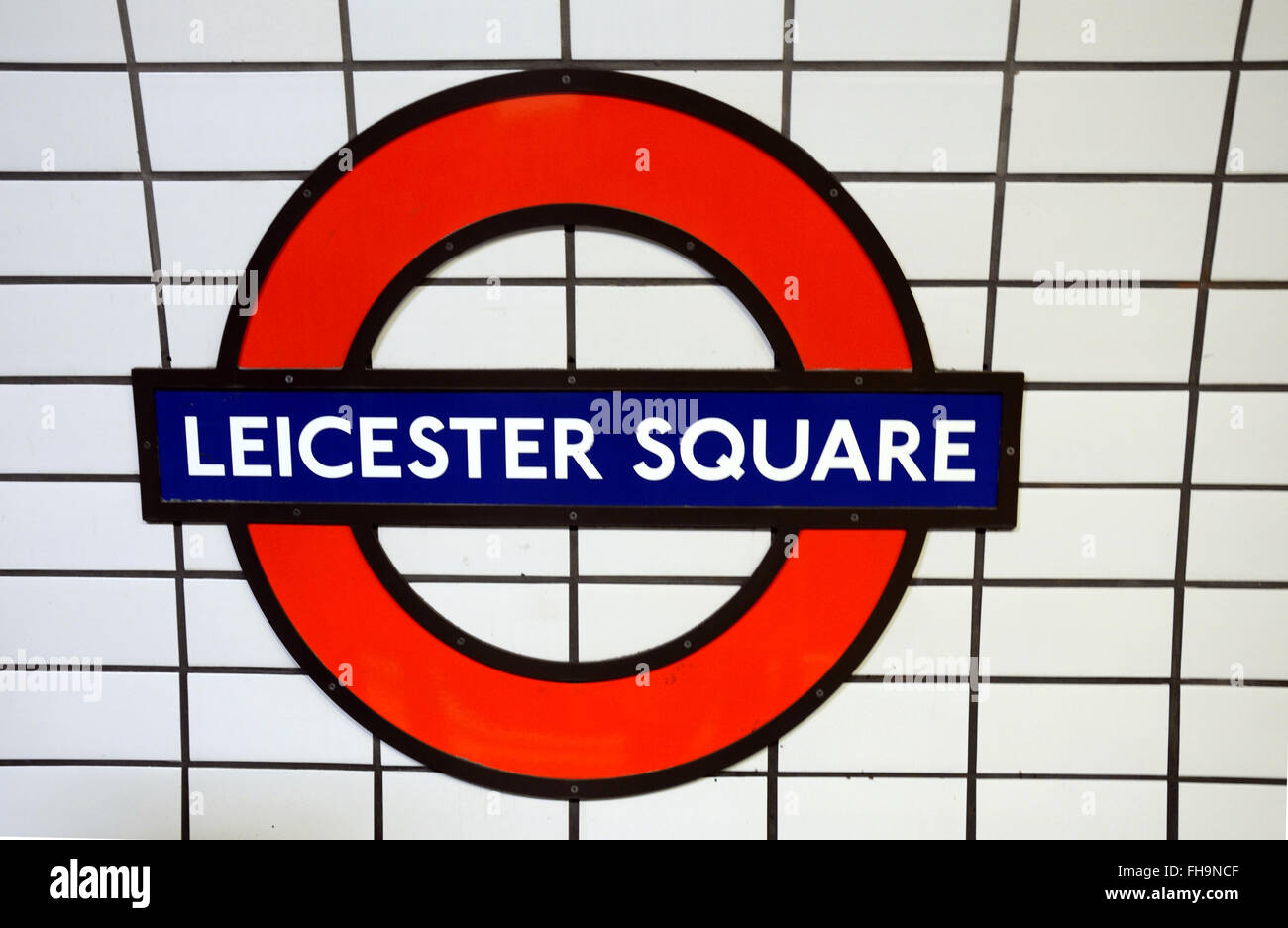 Leicester Square London Underground station name sign - Stock Image