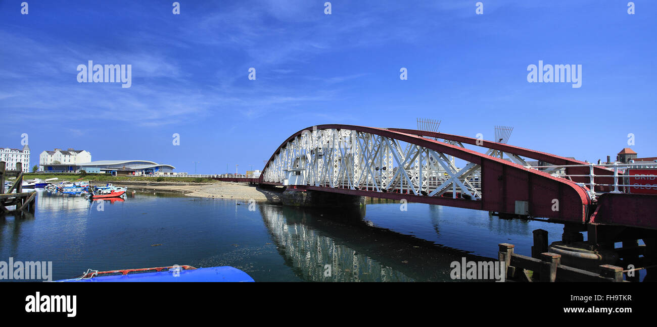 Ramsey swing bridge & Harbour, Isle of Man - Stock Image