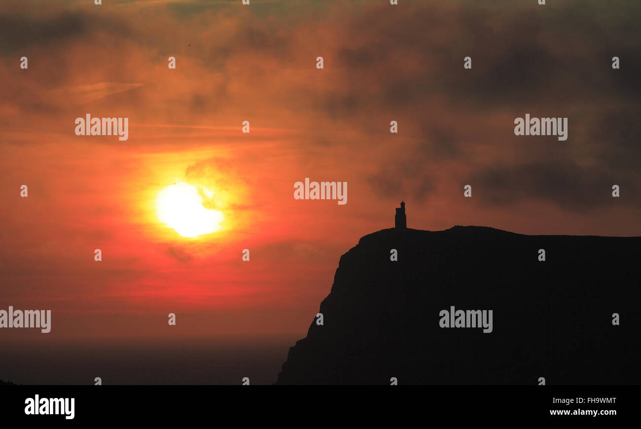 Milners Tower, Port Erin, Isle of Man sunset - Stock Image