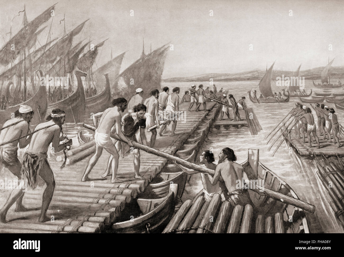Phoenician sailors building a pontoon bridge across the Hellespont for Xerxes I of Persia, enabling him to invade - Stock Image
