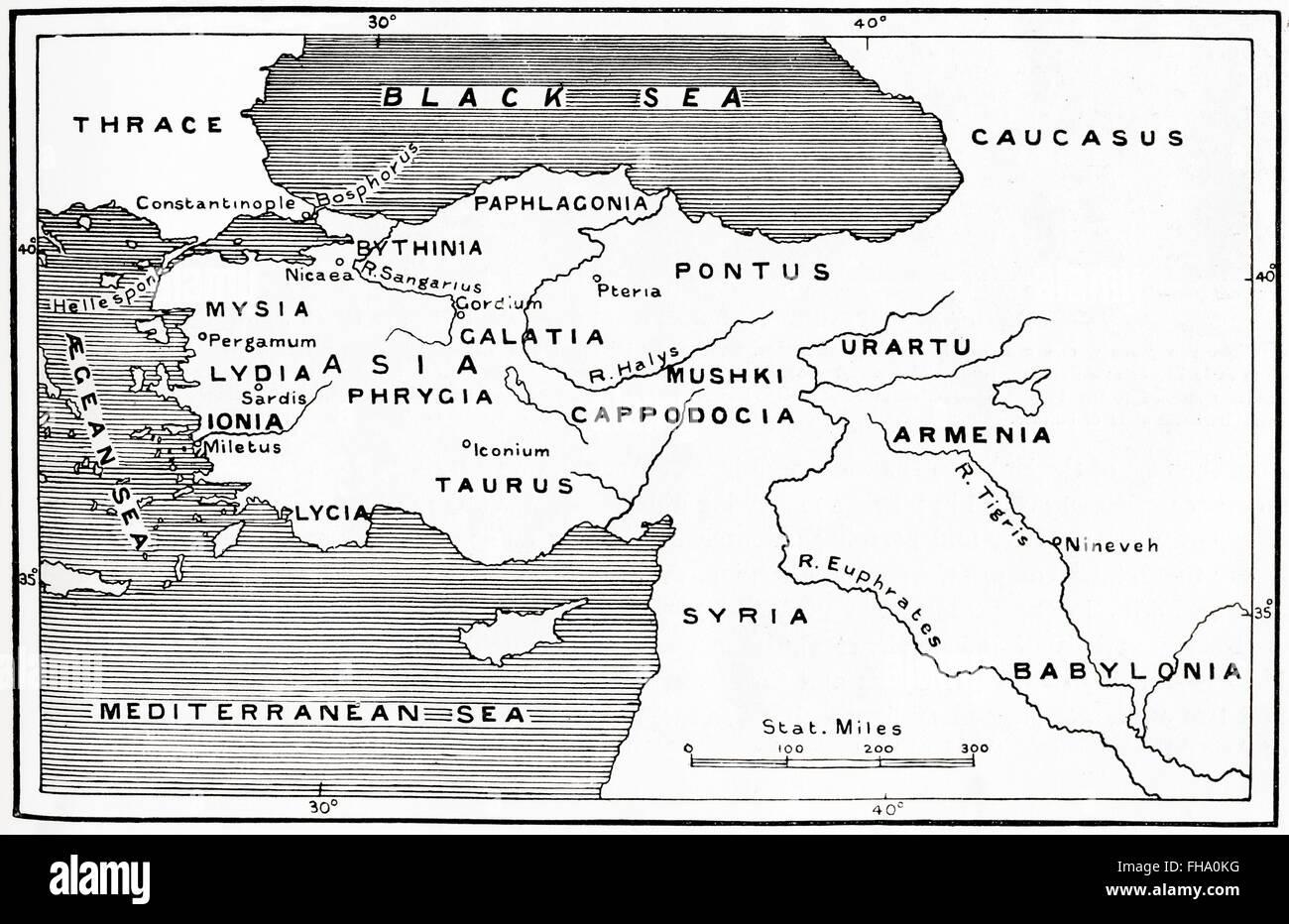 Map of Asia Minor circa 2nd century BC - Stock Image